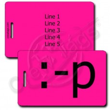 PERSONALIZED STICKING OUT TONGUE EMOTICON LUGGAGE TAG :-p NEON PINK